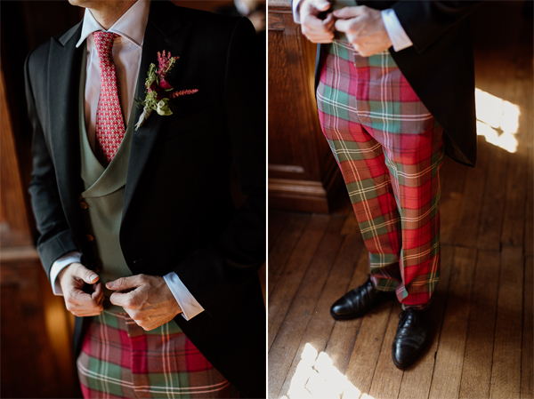 scottish trausers groom tie buttonhole