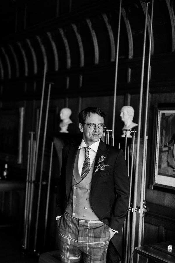groom in a pool room preparations scotland