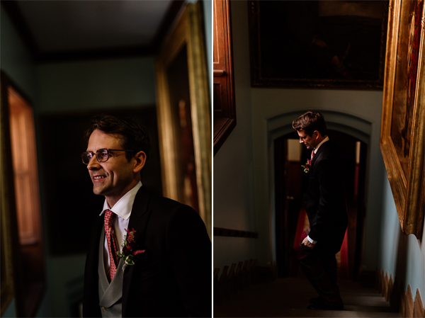 groom laughing waiting for ceremony