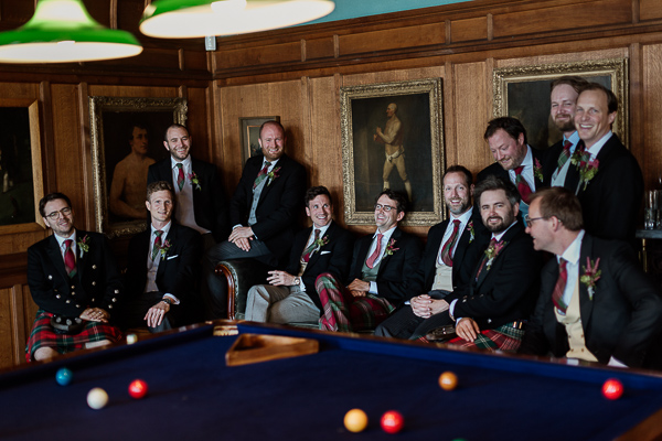 pool table with groomsmen wedding