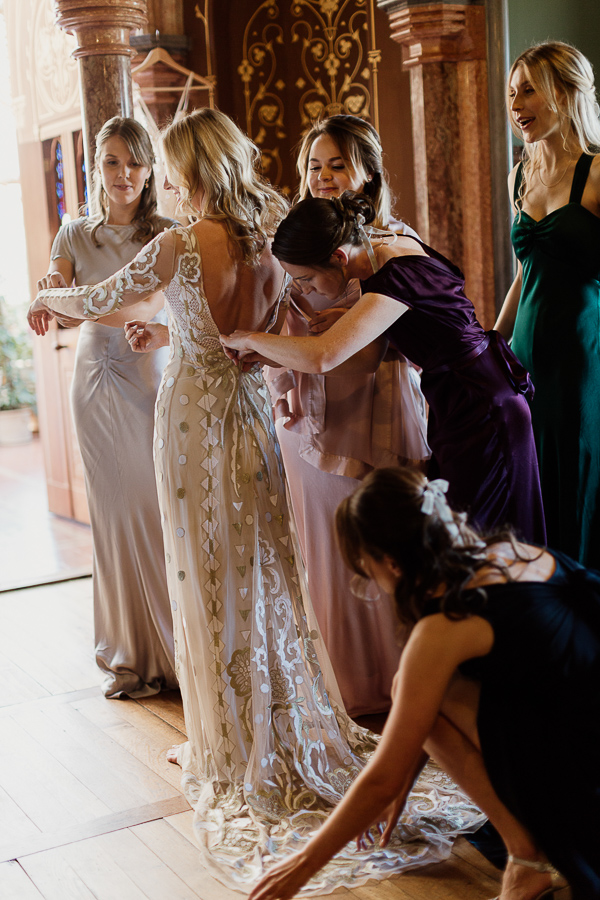 bride wearing orintal dress preparations mount stuart