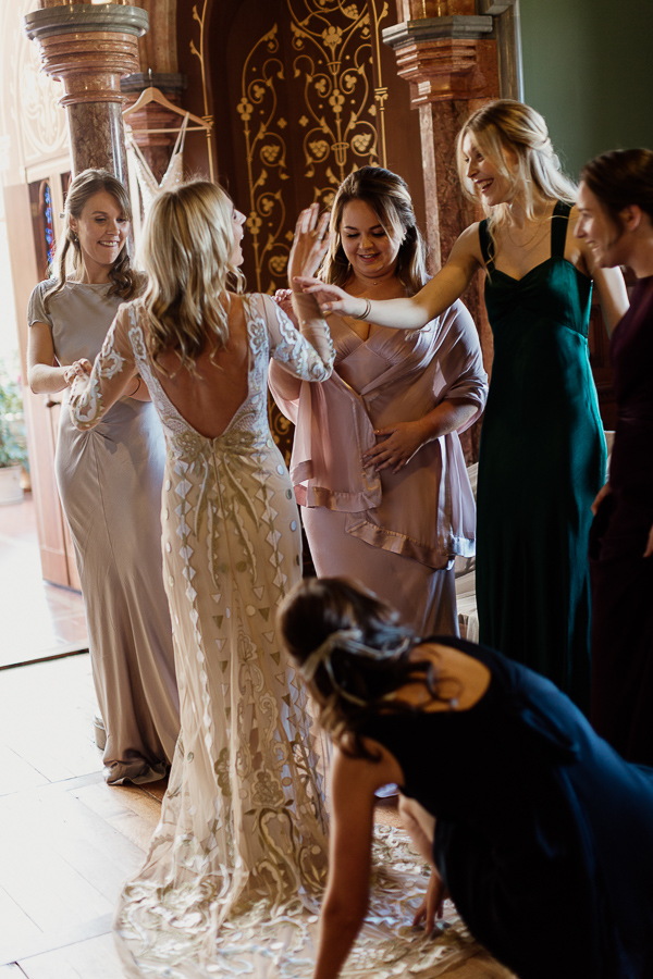 bride laughing preparations