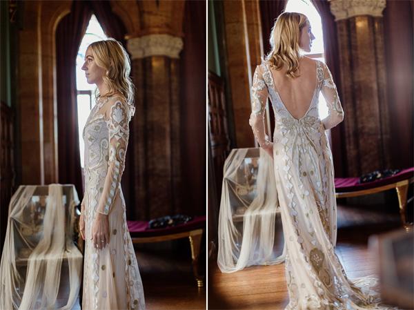 slim bride with blond hair in scotland