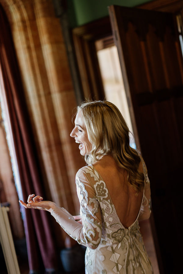 bride laughing waiting for ceremony