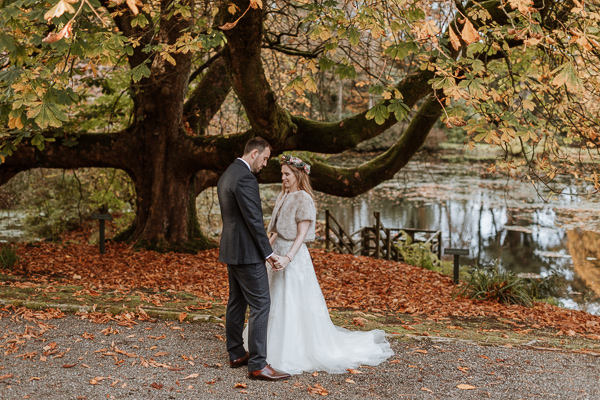 lovely couple freshly married posing in the beautiful Glenapp gardens Ayshire