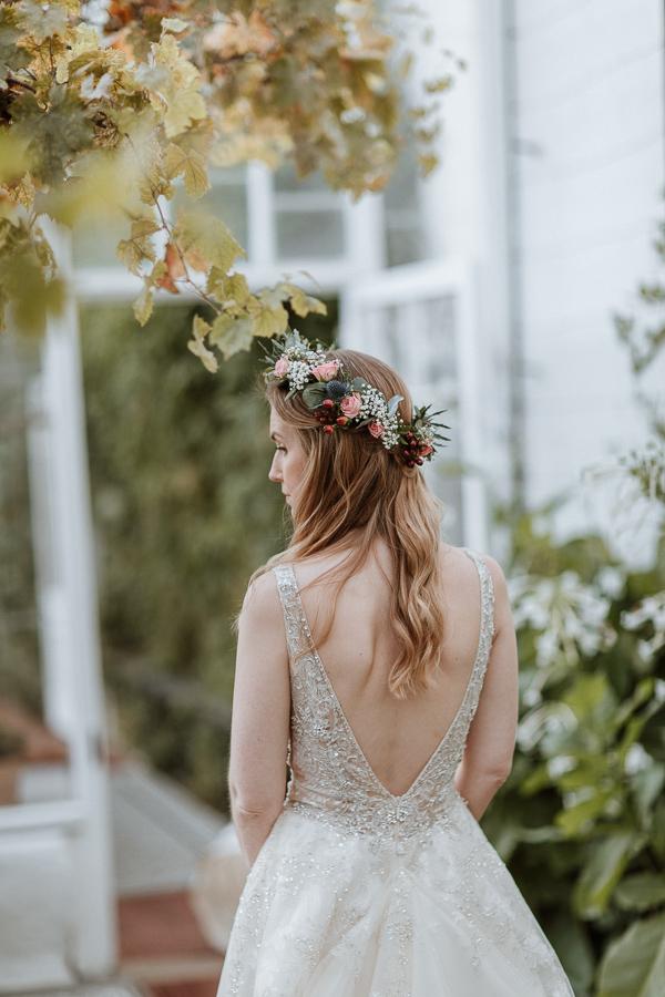 back of a wedding dress greenhouse in glenapp estate scotland