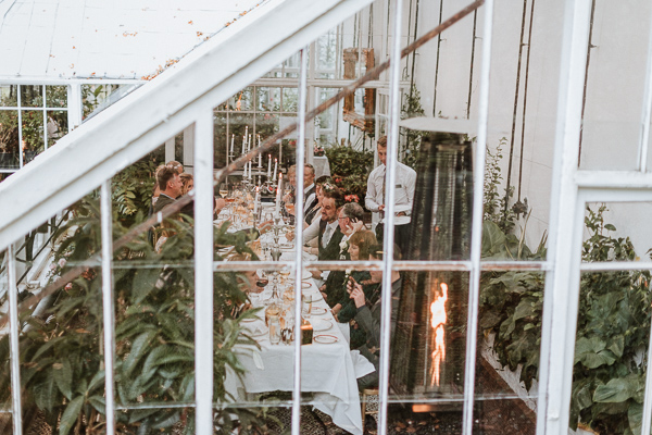 shot from above to capture wedding breakfast at glenapp greenhouse ayrshire