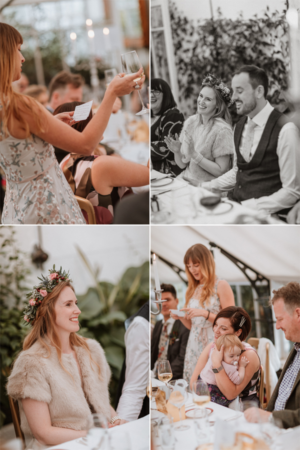 bridesmaid making her speech and toast at Glenapp Wedding Venue