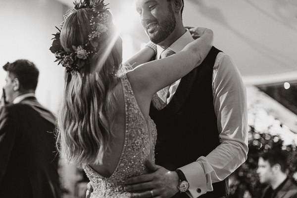 groom looking at the brdie during their evening dance ayrshire weddings