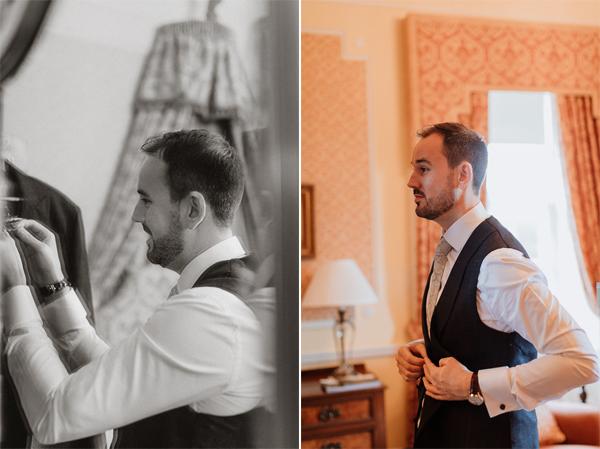 final wedding preparations at wedding Venue Glenapp Castle