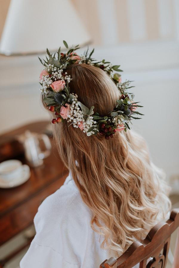 brides  hair garland wore at Glenapp Castle Ayrshire