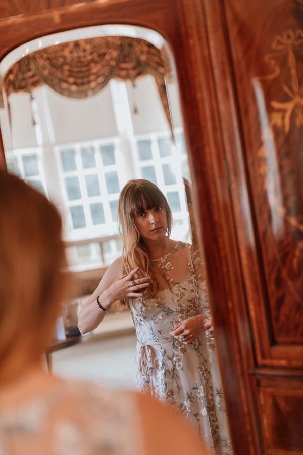 brides sister in the mirror wedding venue Glenapp Ayrshire
