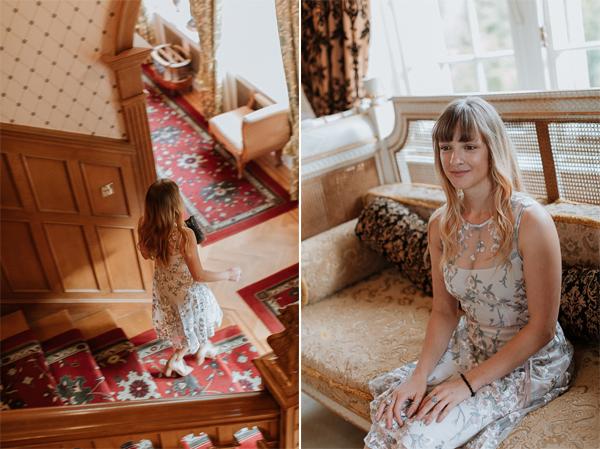 bridesmaid in the hall of Glenapp Castle Scotland