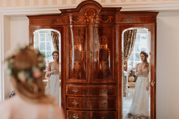 Glenapp Castle wardrobe with mirrors wedding photography