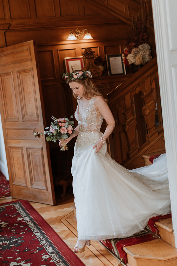 Bride walking down the steps at Glenapp  Wedding Venue Scotland