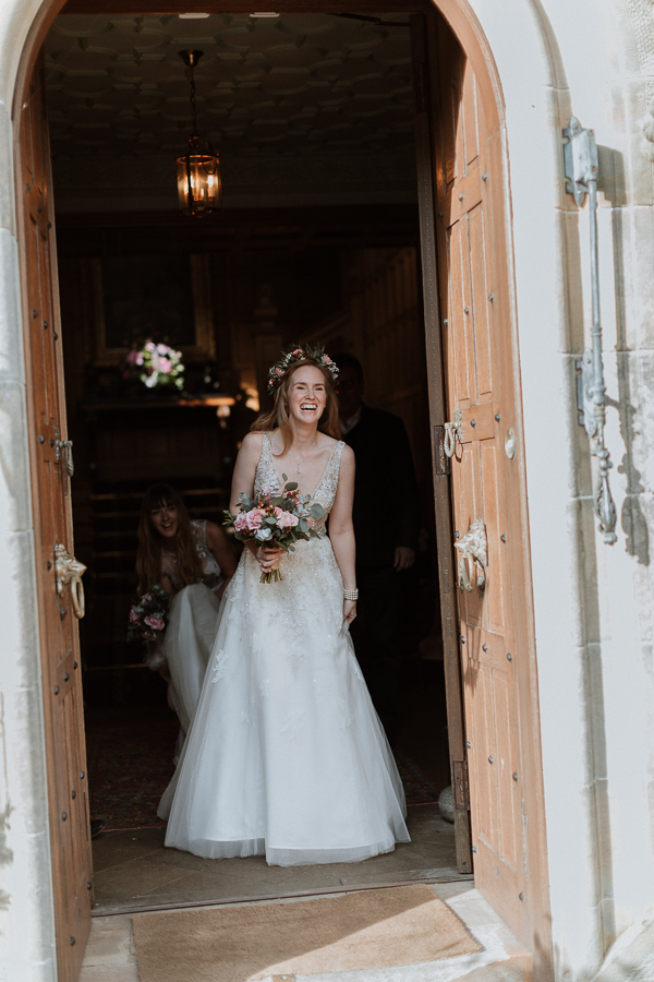 Bride seeing her father at Glenapp Castle Scotland