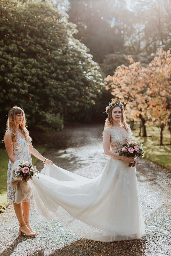 Bride and her sister just before ceremony at Glenapp Castle Ayrshire