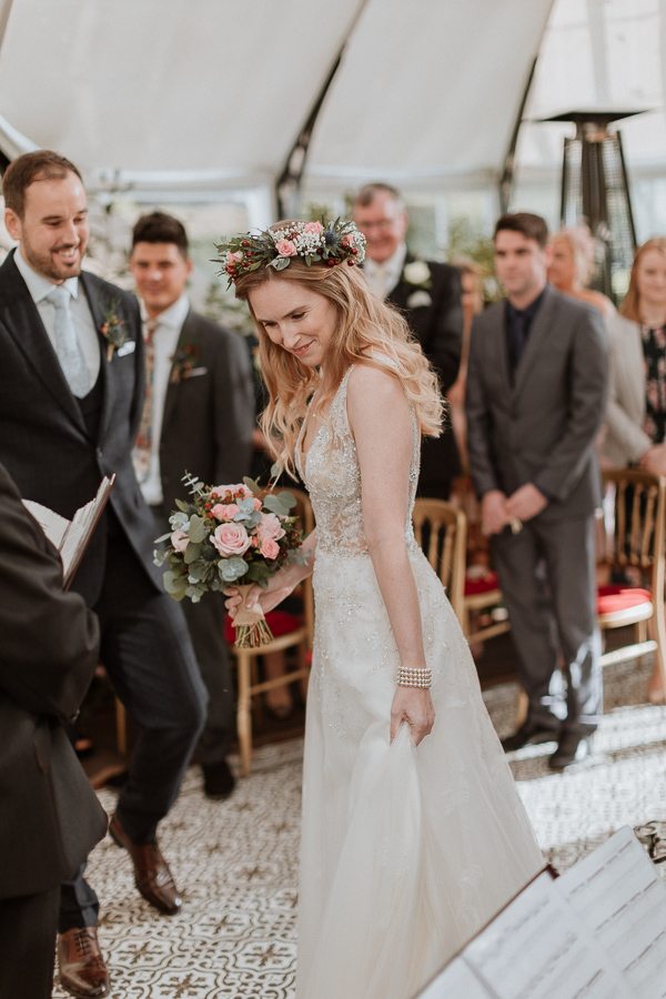 bride and groom at the j8manist ceremony Glenapp Wedding Venue