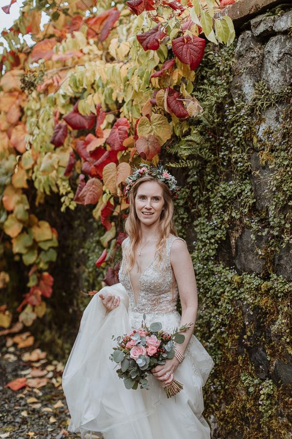 portrait of the bride freshly married at Glenapp Castle Gardens