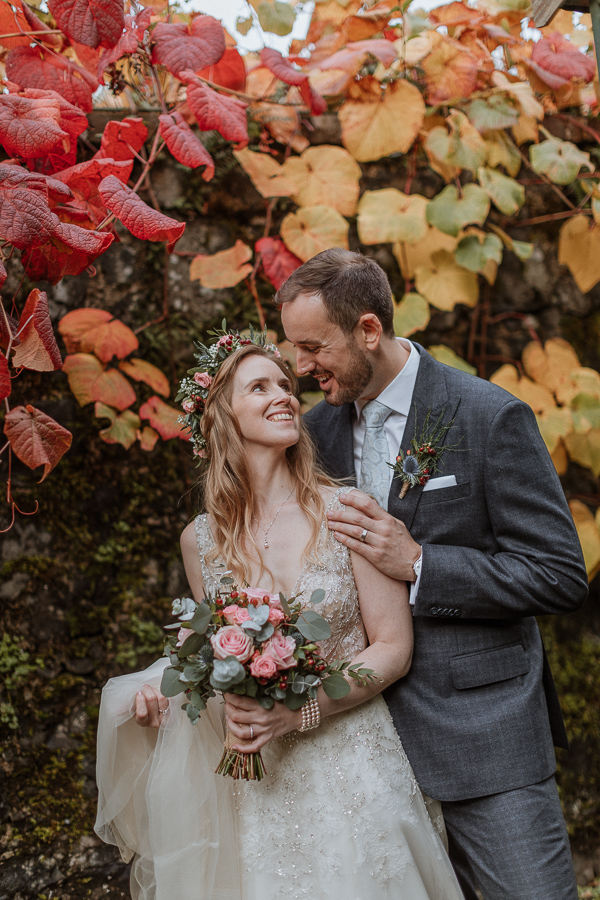 married couple at Glenapp Castle gardens