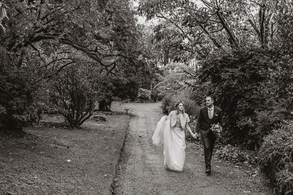 bride and groom walking around Glenapp Castle Ayrshire