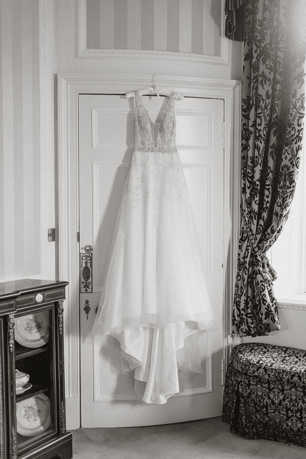 Wedding dress hang in a Glenapp Castle suite Scotland