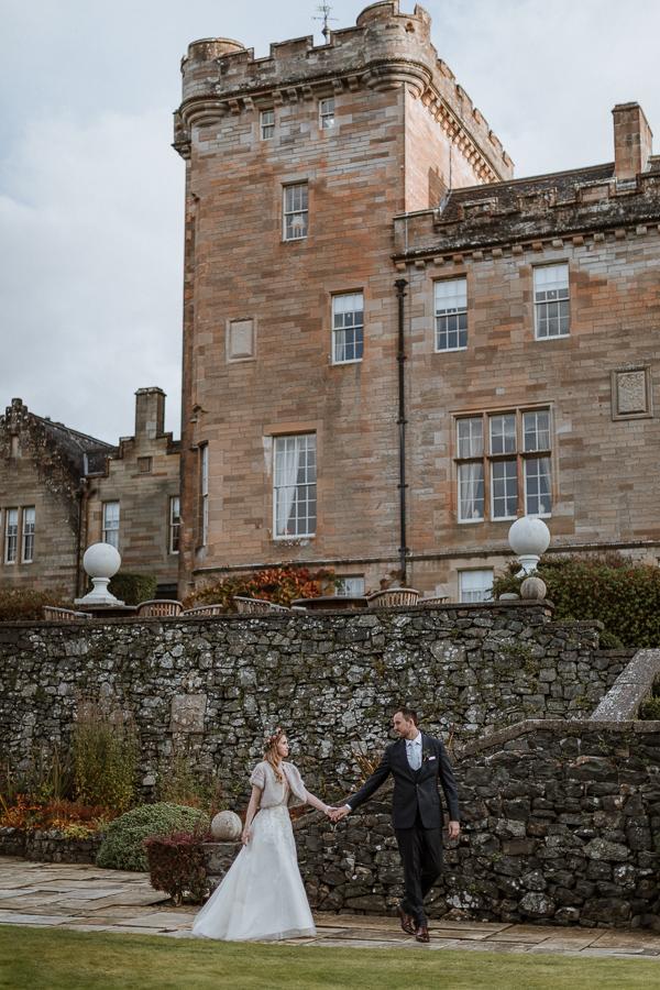 bride and groom at 5 stars venue Glenapp Estate