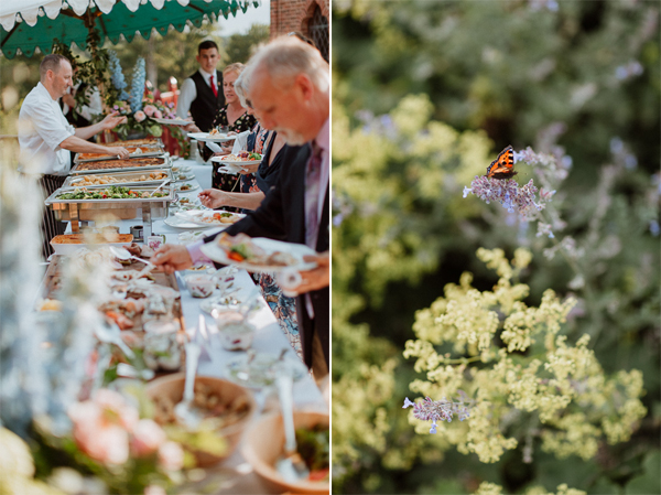 meal outdoors at dumfries house wedding venue