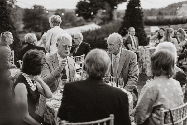 wedding guests at welcome party at dumfries house