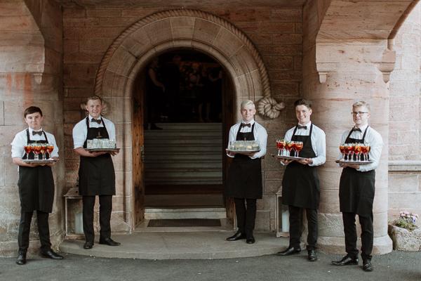 staff at soarn castle wedding