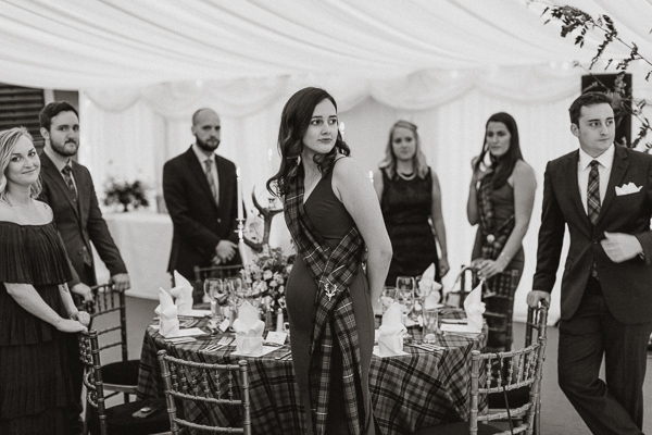 wedding guests at soarn castle marquee