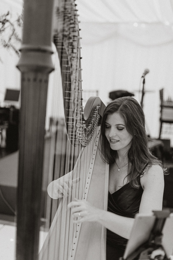 harp beeing played during wedding at soarn castle