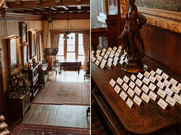interior and table plan at soarn castle wedding