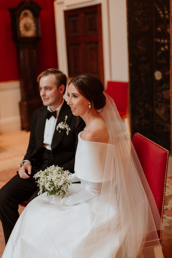 Dumfries House Wedding Photos fotogenic bride and groom sitted
