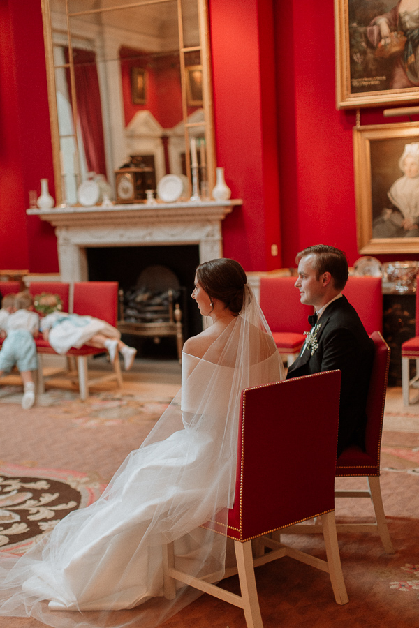 Dumfries House Wedding Photos bride and groom sitted