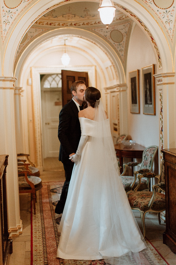 Dumfries House Wedding Photos bride and groom kissing