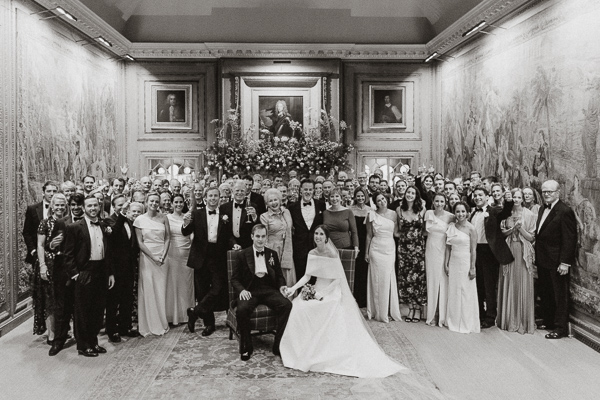 Dumfries House Wedding Photos large group at tapestry room