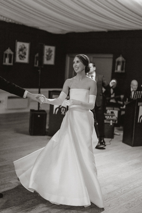 bride smiling during first dance at Dumfries House