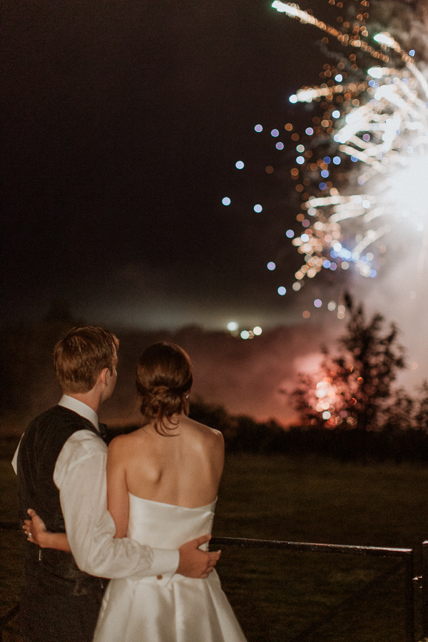 Dumfries House Wedding Photos newlyweds looking at fireworks