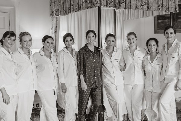 bride with bridesmates group shot during preparations at dumfries house