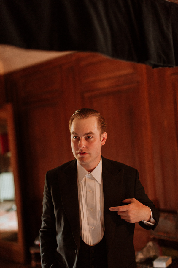 groom getting ready at soarn castle tuxedo