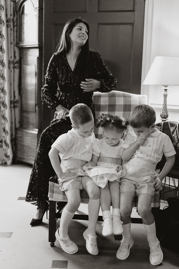 kids sitting on an armchair