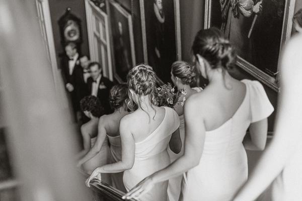 Dumfries House Wedding Photos bridesmates walking down stairs