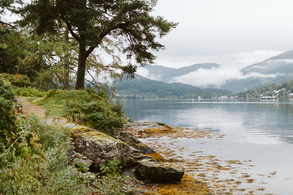 by the shore of loch goil on the wedding day