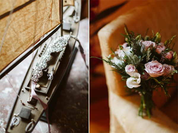 brides precious flowers and a belt sash for wedding dress